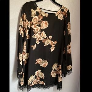 Black floral dress with lace detailing